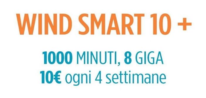 Wind Smart 10+ con 1000 minuti e 8GB a 10€ acquistabile su Amazon